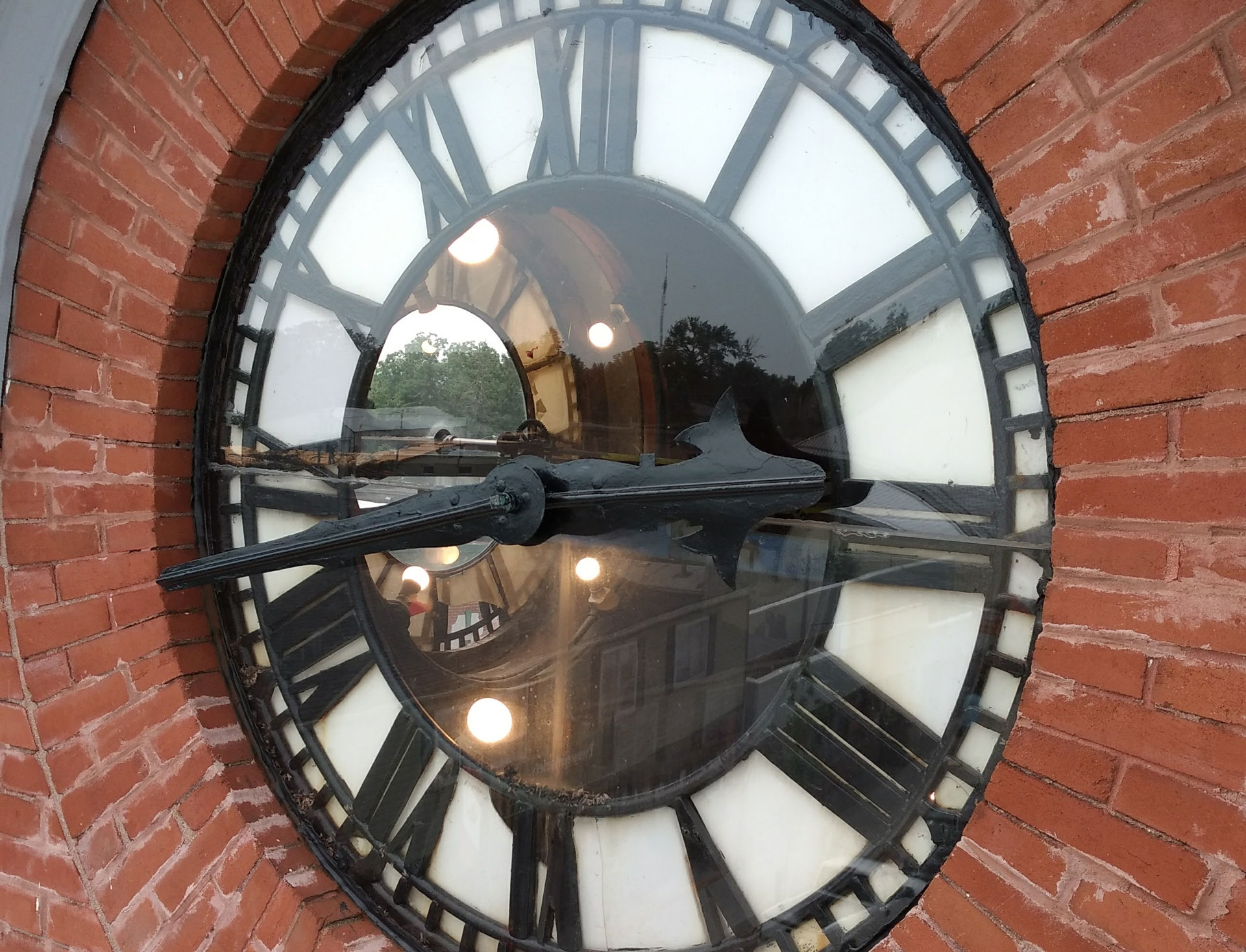 close up of the harriston post office clock face